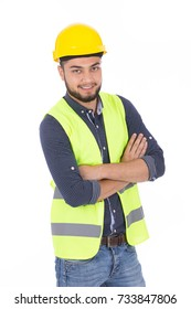 Happy beard engineer smiling and looking to you. He is wearing yellow vest and safety  helmet, isolated on white background.