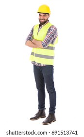 Happy beard engineer smiling and standing confidently, guy wearing caro shirt and jeans with yellow vest and helmet, isolated on white background