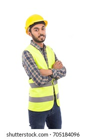 Happy beard engineer smiling and standing confidently, guy wearing caro shirt and jeans with yellow vest and yellow helmet, isolated on white background