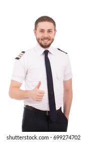 Happy beard pilot with hand in pocket smiling and thumbs up, guy wearing a pilot uniform, isolated on white background