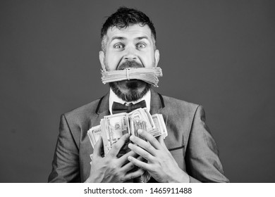 happy bearded man has a lot of money. Business and sport success. winning a lottery. businessman after great deal. Finance and commerce. Billioner with dollar banknotes. Pocketing company money.