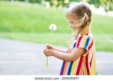 Happy beatiful small girl blowing dandelion flower outdoors. Girl having fun in the park.