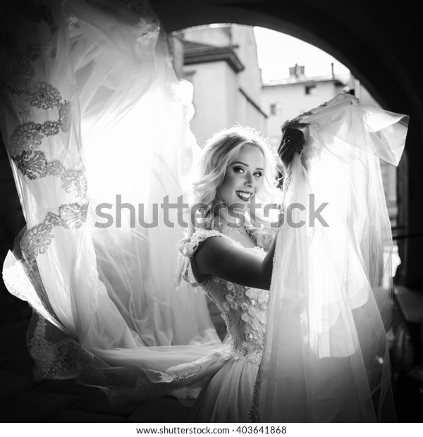 Happy Beautiful Blond Bride Posing Old Stock Photo (Edit