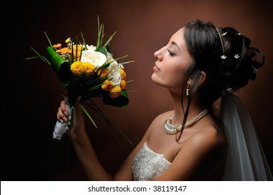 happy beautiful bride in studio