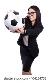 happy beautiful business woman with soccer ball isolated on white background