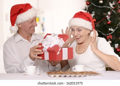 Happy beautiful elderly couple celebrating new year at home