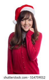 Happy beautiful girl wearing santa hat and red sweater, Christmas concepts, Christmas santa hat concepts, isolated on white background