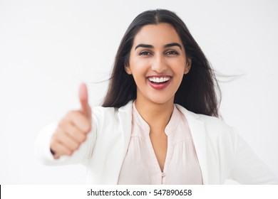 Happy Beautiful Indian Woman Showing Thumb Up