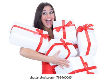 happy beautiful woman with many gifts .isolated on a white background.
