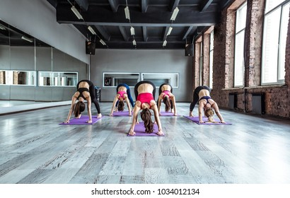 Happy beautiful women making yoga stretching in the fitness class, healthy lifestyle concept