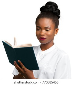 Happy beautiful young african woman student holding notebook