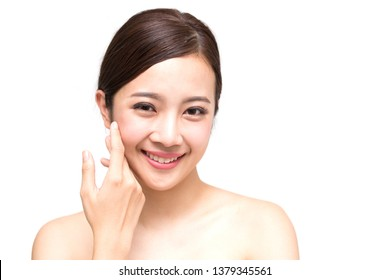 Happy beautiful young Asian woman with clean fresh skin, Girl beauty face care, Facial treatment and cosmetology spa concept