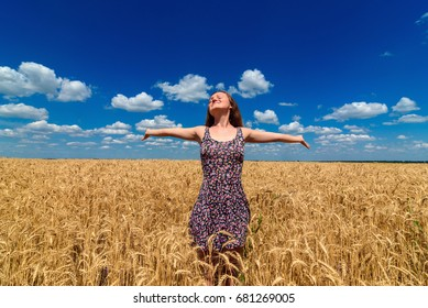 Happy beautiful young woman in dress walking in golden wheat field with cloudy blue sky background, free space. Liberty, peace of mind concept. Girl in spikes of ripe wheat field under blue sky