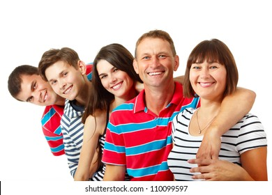Happy big caucasian family having fun and smiling over white