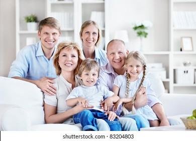 Happy big family home
