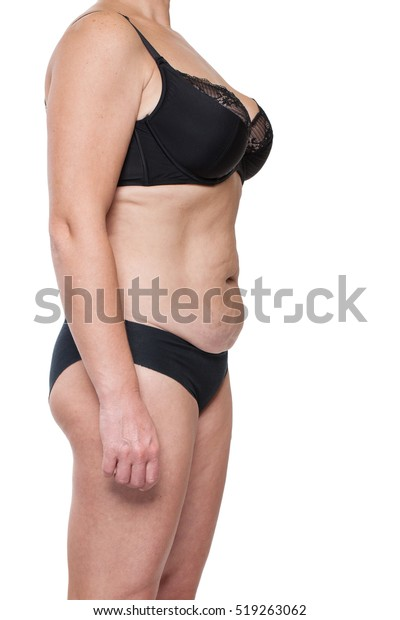 Happy Big Woman On White Background Stock Photo Edit Now
