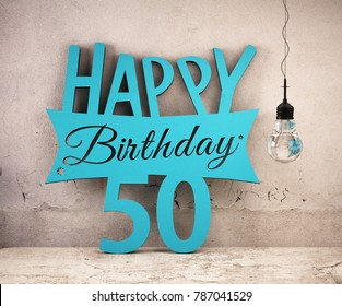 Happy Birthday 50 lettering placed on wall