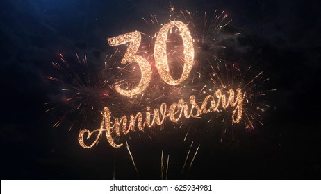 Happy birthday Anniversary 30 years celebration greeting text with particles and sparks on black night sky with colored fireworks on background, beautiful typography magic design.