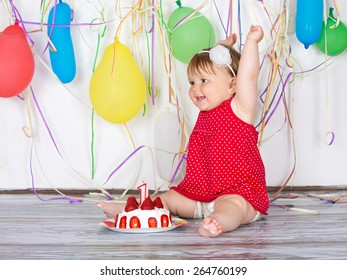 Happy birthday baby, Little girl with group balls and cake.