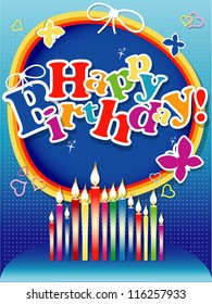 Happy birthday background or card with candles.