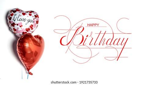 Happy Birthday! Birthday balloons. Banner, greeting card