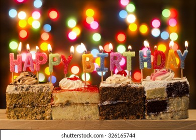 happy birthday with bokeh background