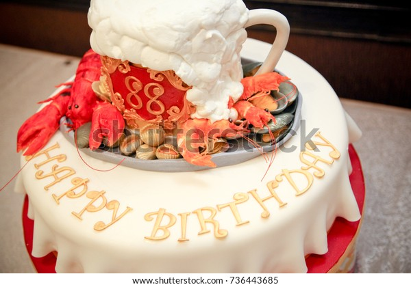 Happy Birthday Cake With Beer Mug And Seafood Decorations