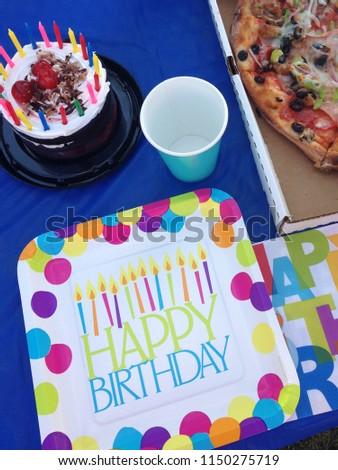 Happy Birthday Cake Bright Colors Pizza Stock Photo Edit Now