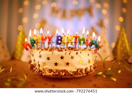 Happy Birthday Cake Candles Stock Photo Edit Now 792276451