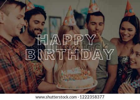 Happy Birthday Cake Candles Flowers Great Mood Surprise Party