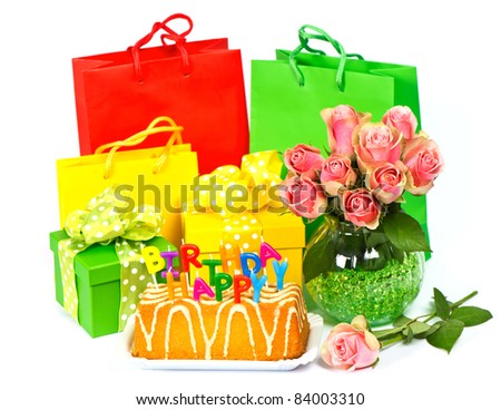 Happy Birthday Cake Candles Flowers Gifts Stock Photo Edit Now