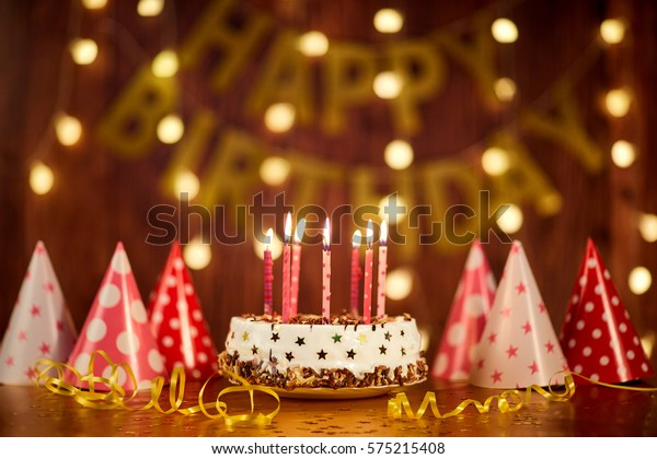 Marvelous Happy Birthday Cake Candles On Background Stock Photo Edit Now Funny Birthday Cards Online Chimdamsfinfo