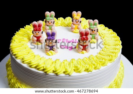 Happy Birthday Cake Childrens Partyspecial Birthday Stock Photo