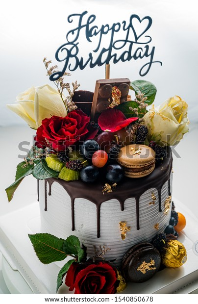 Admirable Happy Birthday Cake Decoration Chocolate Rose Stock Photo Edit Personalised Birthday Cards Petedlily Jamesorg