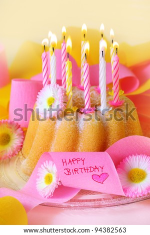Happy Birthday Birthday Cake Flowers Candles Stock Photo Edit Now