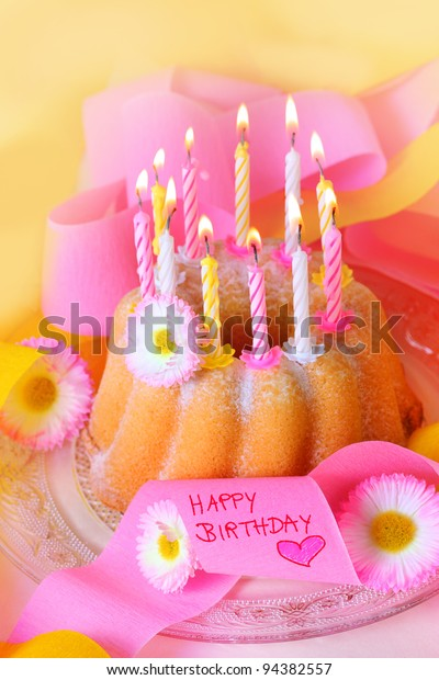 Awe Inspiring Happy Birthday Birthday Cake Flowers Candles Stock Photo Edit Now Funny Birthday Cards Online Alyptdamsfinfo