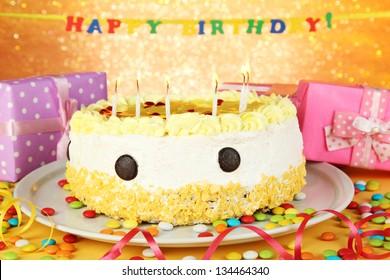 Birthday Celebration Childhood Friend Birthday Cake Stock Photo
