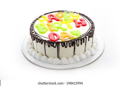 Happy birthday cake isolated on white