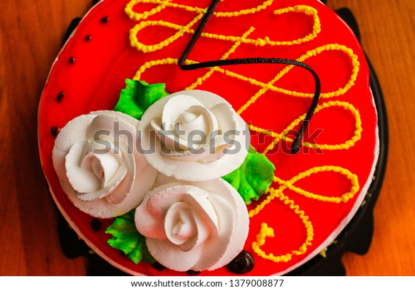 Happy Birthday Cake On White Backgroundromantic Stock Photo
