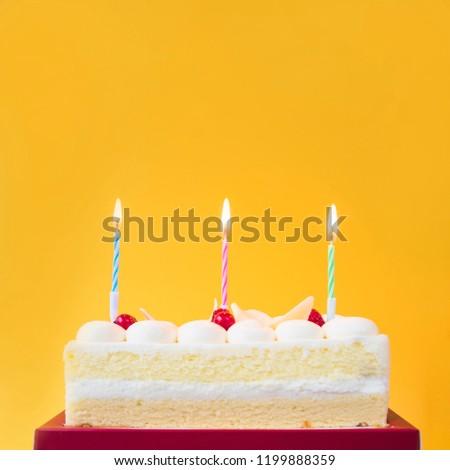 Happy Birthday Cake Shot On Yellow Stock Photo Edit Now 1199888359