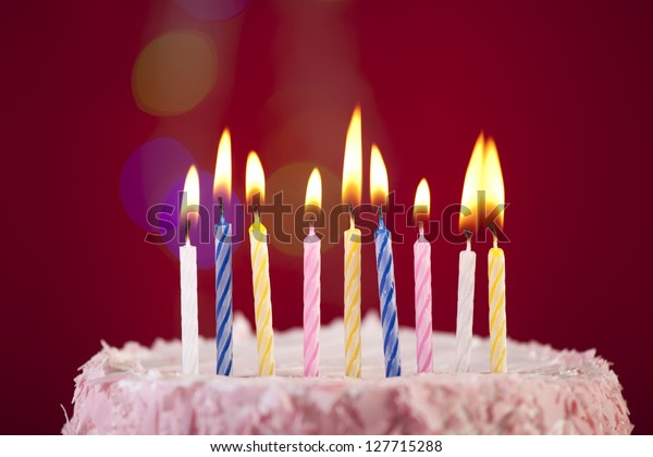 Swell Happy Birthday Cake Shot On Red Stock Photo Edit Now 127715288 Personalised Birthday Cards Cominlily Jamesorg