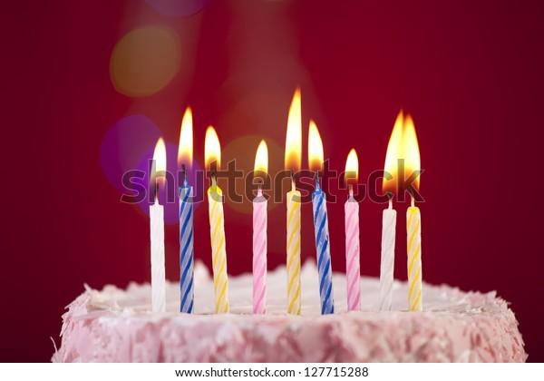 Superb Happy Birthday Cake Shot On Red Stock Photo Edit Now 127715288 Funny Birthday Cards Online Necthendildamsfinfo