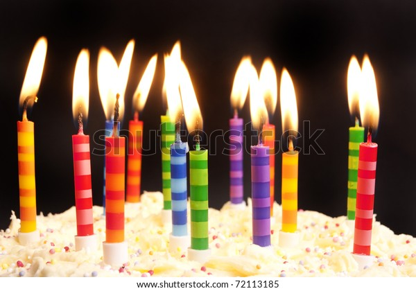 Swell Happy Birthday Cake Shot On Black Stock Photo Edit Now 72113185 Personalised Birthday Cards Cominlily Jamesorg