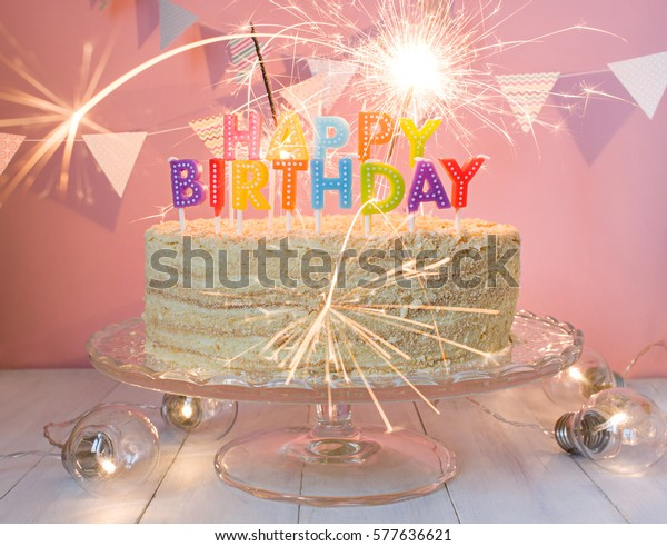 Wondrous Happy Birthday Cake Sparklers Greeting Card Stock Photo Edit Now Funny Birthday Cards Online Fluifree Goldxyz