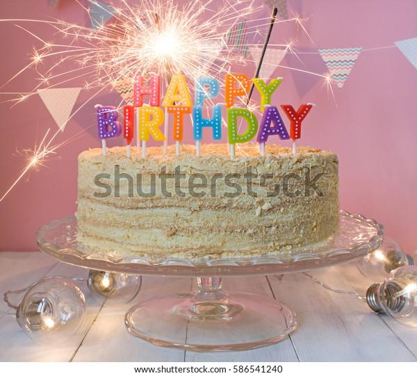 Prime Happy Birthday Cake Sparklers Greeting Card Stock Photo Edit Now Funny Birthday Cards Online Inifodamsfinfo
