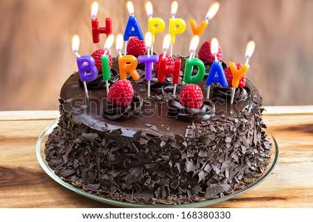Happy Birthday Candles On Chocolate Cake