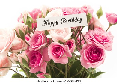 Happy Birthday Card with Bouquet of Pink Roses.