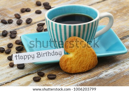 Happy Birthday Card Cup Coffee Heart Stock Photo Edit Now