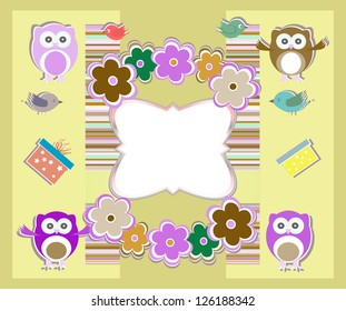 happy birthday card with cute owls, birds, flowers and gift box, raster