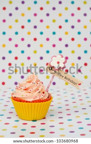 Happy Birthday Card Design Cupcake On Stock Photo Edit Now